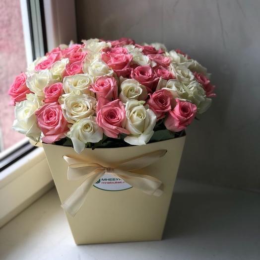 Букет из 45 роз в коробке: букеты цветов на заказ Flowwow