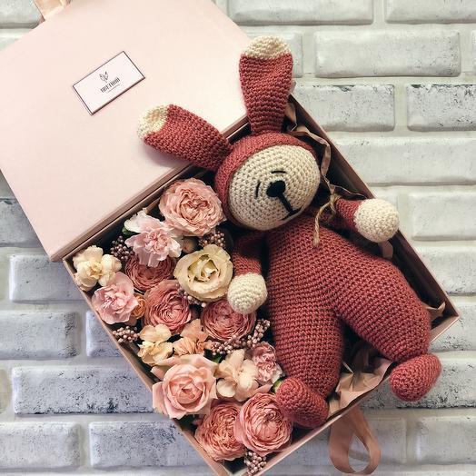 Набор с мягкой игрушкой 001: букеты цветов на заказ Flowwow