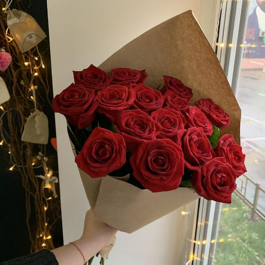 Красные розы 50 см , 15 шт: букеты цветов на заказ Flowwow