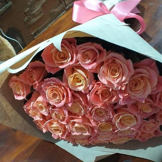 Розочки в крафт бумаге: букеты цветов на заказ Flowwow