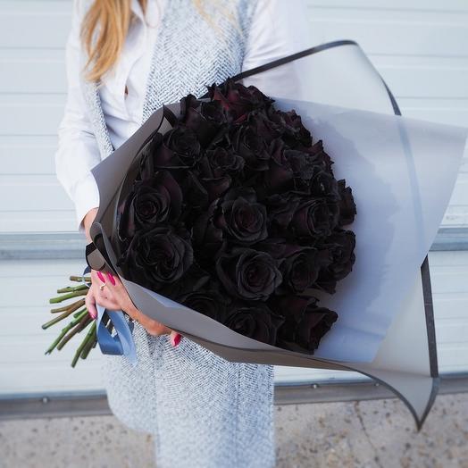 Черные розы 25 шт