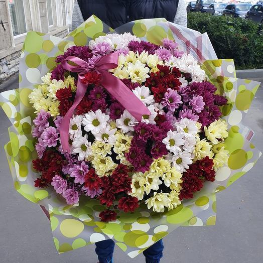 Шикарный букет из хризантем