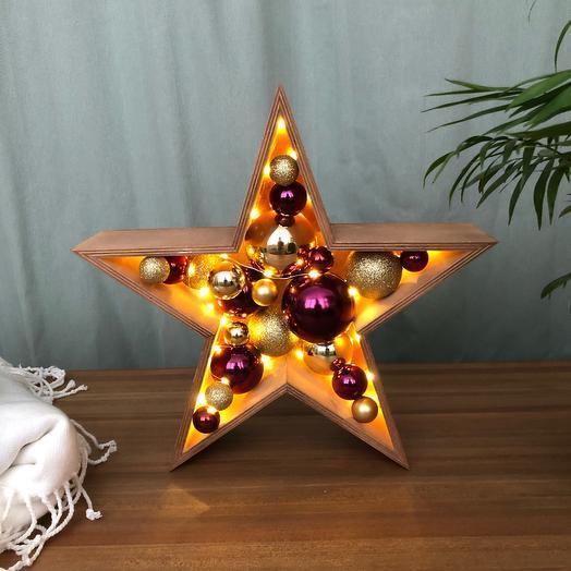 Новогодняя звезда ⭐️ малая золотой фиолетовый темный дуб
