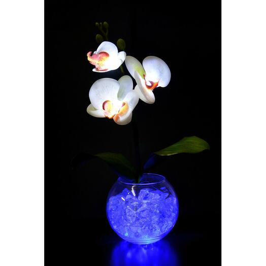 Ночник Орхидея белый(син) 3 цветка