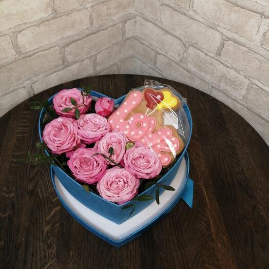Сердце из роз и пряника