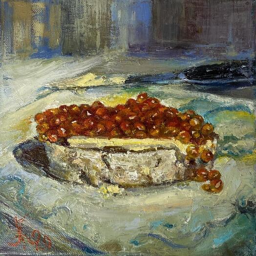 "Картина ""Бутерброд с икрой"" 20*20 см. масло, холст"