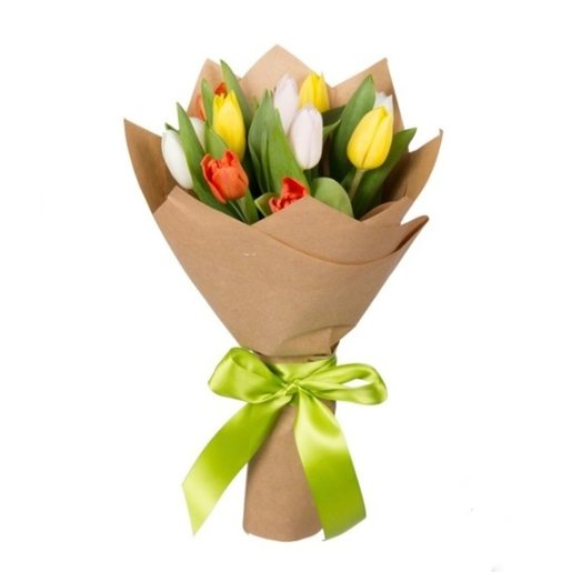 15 тюльпанов в крафте/фетре цвет МИКС: букеты цветов на заказ Flowwow