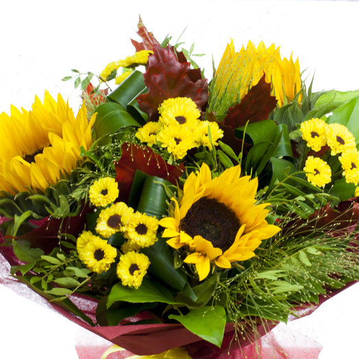 Букет с 3 подсолнухами: букеты цветов на заказ Flowwow