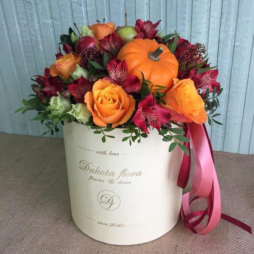 Осенняя коробочка с тыквой: букеты цветов на заказ Flowwow
