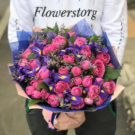 Розы. Пионовидная кустовая роза.  Ирис. N269