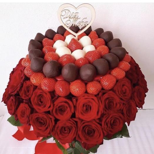 Клубничный букет «Романтика»: букеты цветов на заказ Flowwow