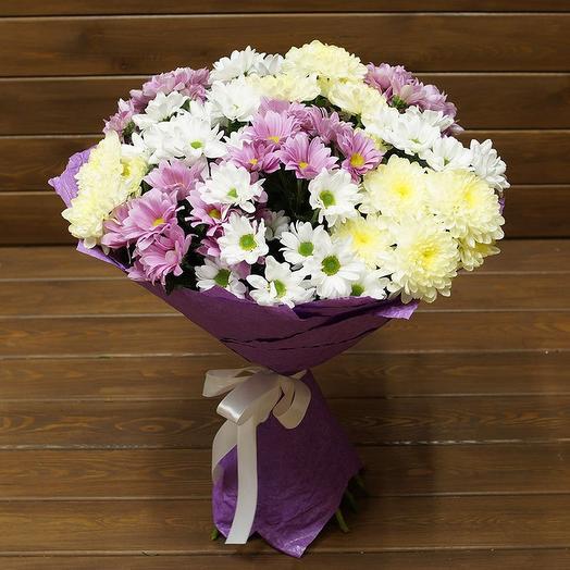 11 кустовых разноцветных хризантем