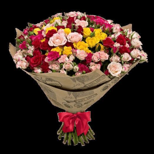 """Букет из кустовых роз """"Радуга"""": букеты цветов на заказ Flowwow"""