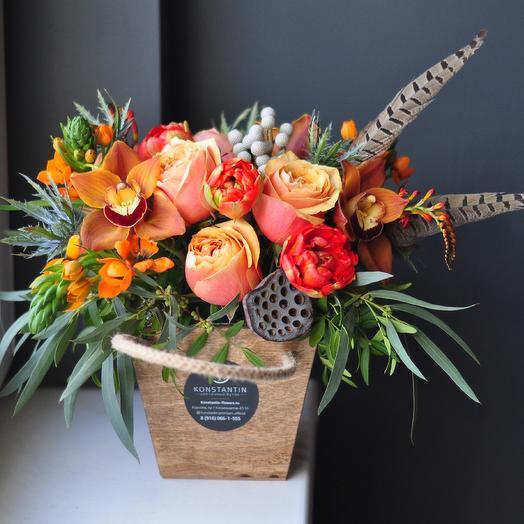 Краски лета в деревянном кашпо: букеты цветов на заказ Flowwow