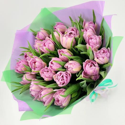 25 сиреневых пионовидных тюльпанов