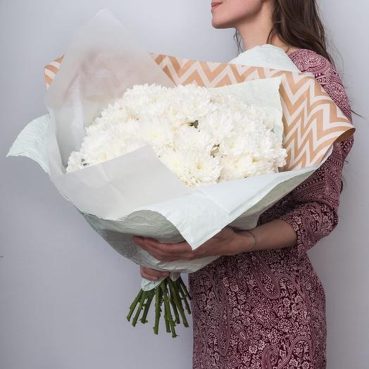 Большой букет белых хризантем 💐: букеты цветов на заказ Flowwow