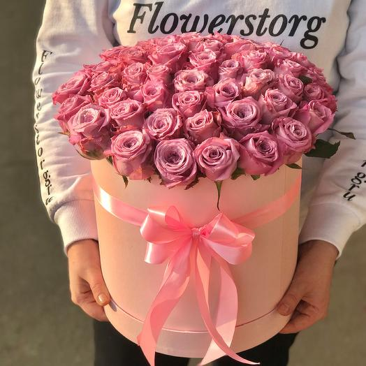 Коробка с цветами. 51 роза. N507: букеты цветов на заказ Flowwow