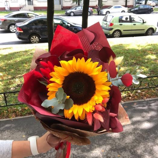 Подсолнух с эвкалиптом: букеты цветов на заказ Flowwow