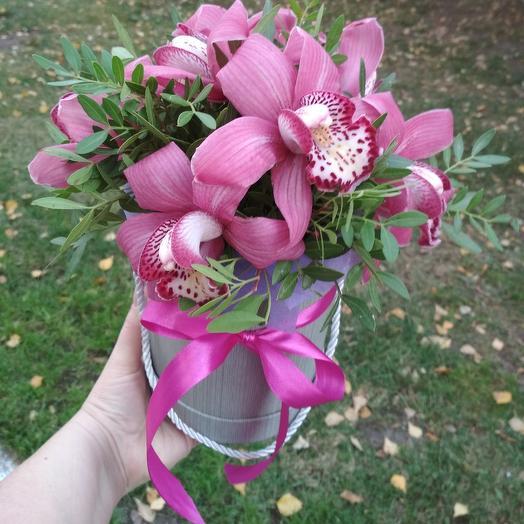 Коробочка с  экзотическими орхидеями: букеты цветов на заказ Flowwow