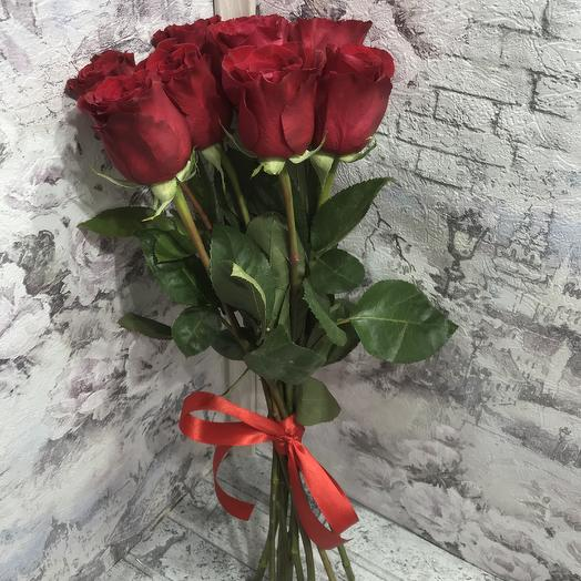 Букет 9 красных роз 50 см: букеты цветов на заказ Flowwow