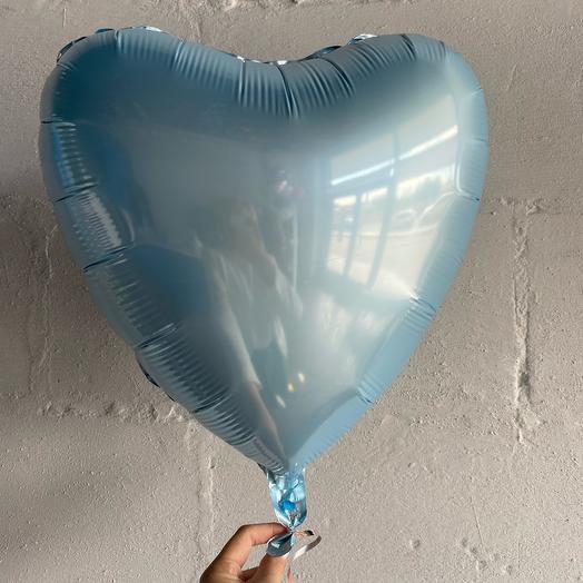 Шар «Сердце» нежно-голубой, фольгированный. Размер 46см