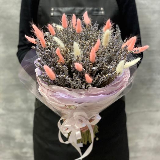 Ароматный букет из Французской лаванды и нежного лагуруса