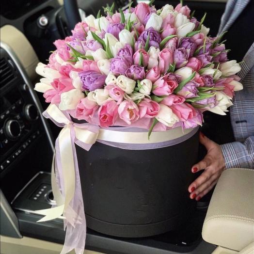 101 тюльпан в коробке