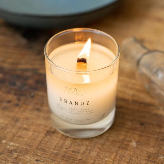 Свеча BRANDY 225мл с деревянным фитилём