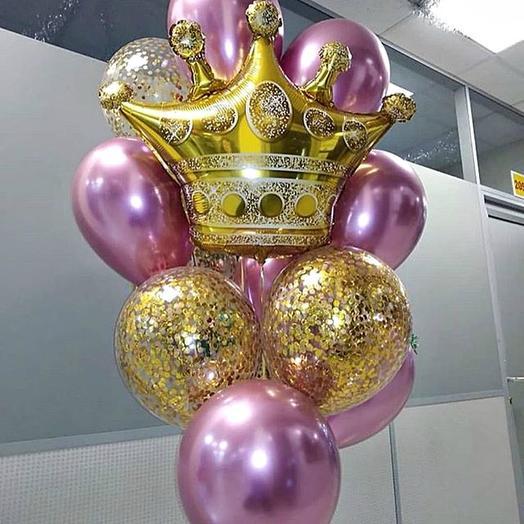 Фонтан гелиевые шары и корона