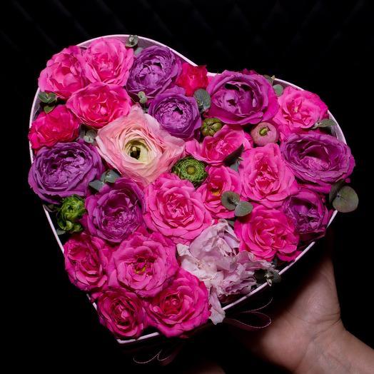 Цветы в коробке «Мое сердце»
