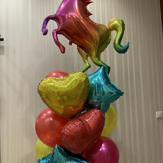 Большой букет из шаров с радужным единорогом