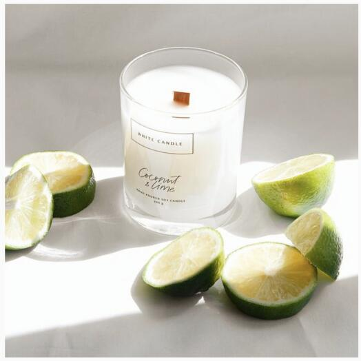 Аромасвеча Coconut Lime / Кокос и Лайм с деревянным фитилем, WHITE CANDLE