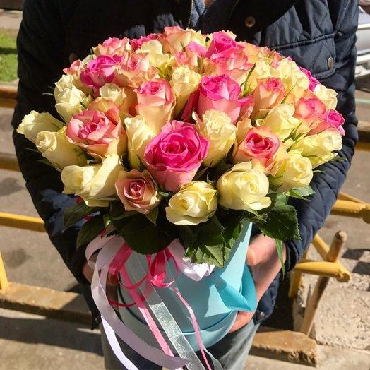 45 роз  Нежный микс: букеты цветов на заказ Flowwow