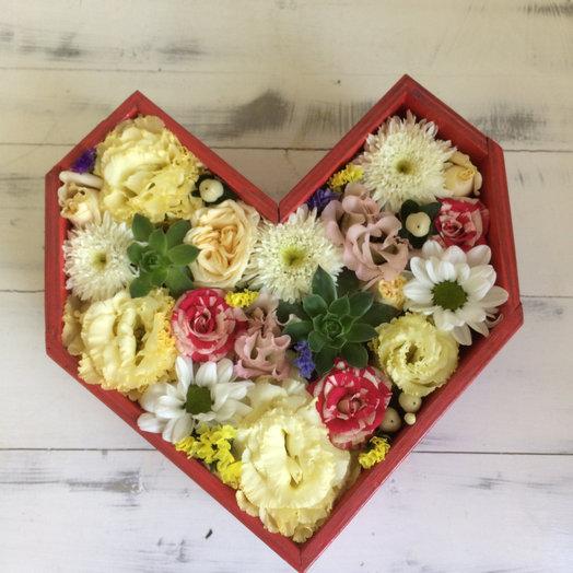Деревянное сердце: букеты цветов на заказ Flowwow