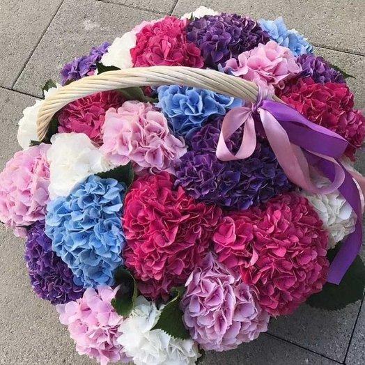 Корзина с гортензией: букеты цветов на заказ Flowwow