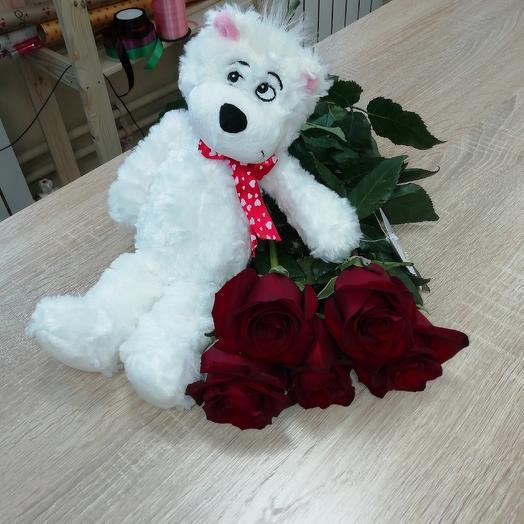 Медвежонок с розами: букеты цветов на заказ Flowwow