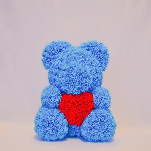 Мишка из роз с сердцем RozaRose Голубой - 40 см