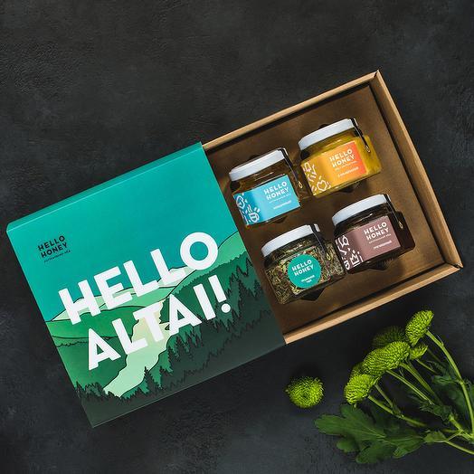 Подарочный набор мёда и чая «Hello, Altai», 4 банки: букеты цветов на заказ Flowwow
