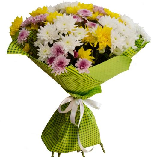 Композиция из пятнадцати кустовых хризантем: букеты цветов на заказ Flowwow