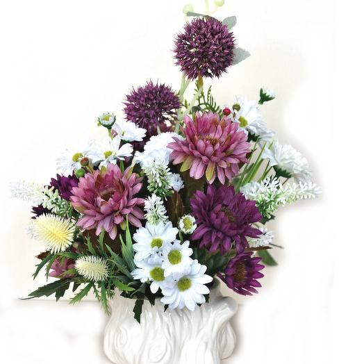 Композиция из искусственных цветов 400667: букеты цветов на заказ Flowwow