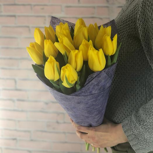 Яркое солнце (17 тюльпанов)