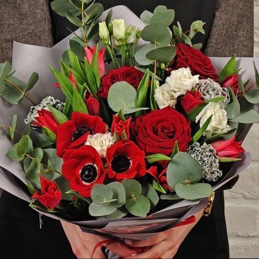 Букет анемоны и Розы: букеты цветов на заказ Flowwow