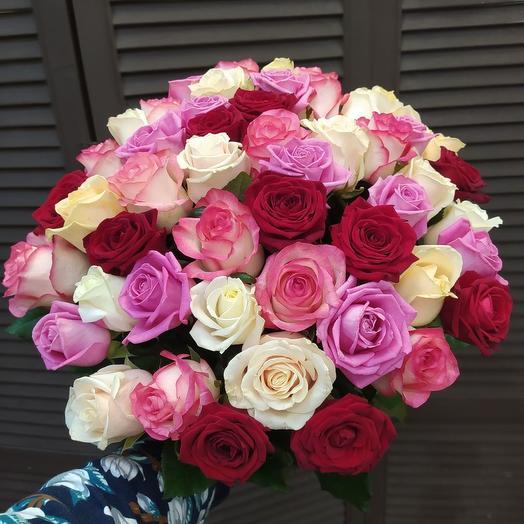 51 голландская роза 60 см микс