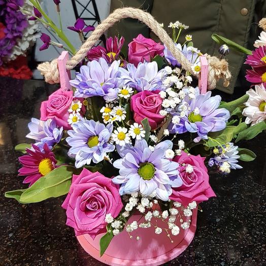 """Цветы в коробке """"малиновые настроение """""""