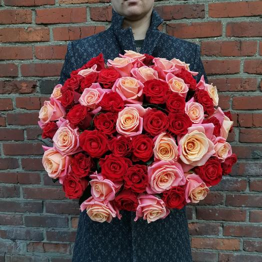 ЛЮБОВЬ. Букет из 55 роз