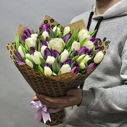Букет из 51 бело-фиолетового тюльпана