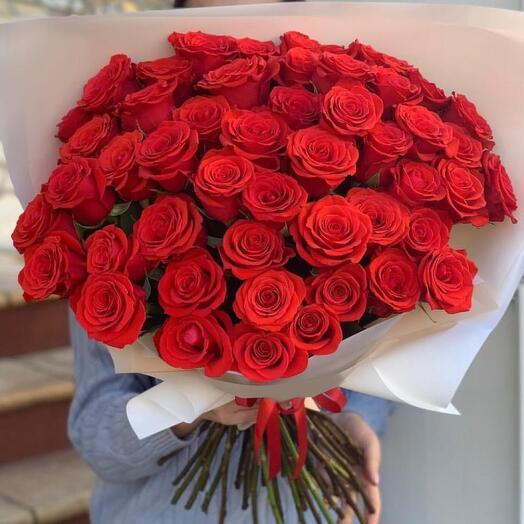 Моно из 50 красных роз