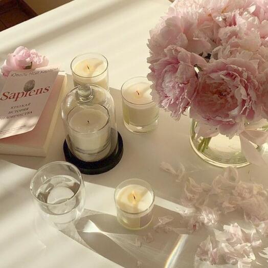 Cтеклянный колпак и подставка для свечи