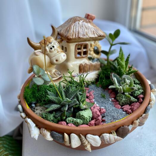 Подарок садоводу !Флорариум «Веселая бурёнка»