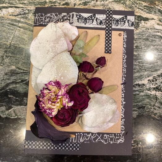 Открытка авторская с розами